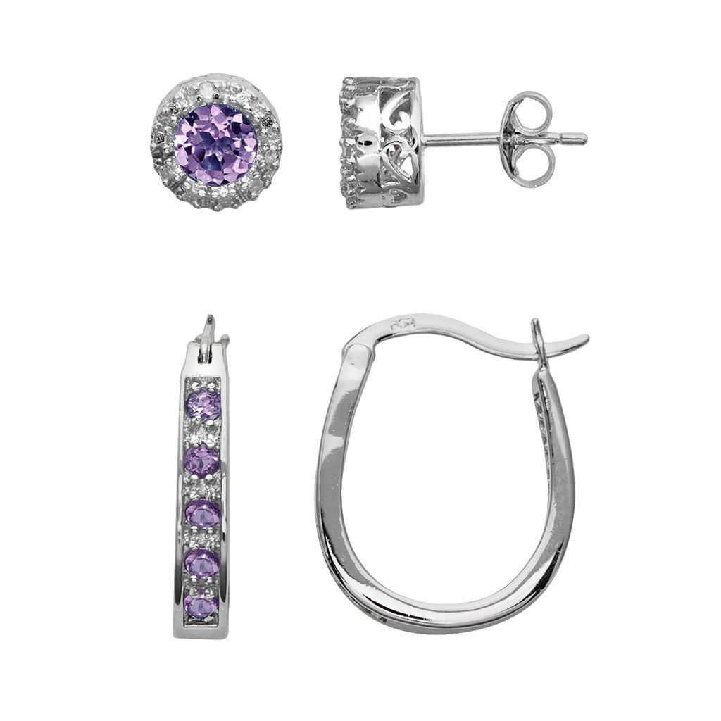 Sterling Silver Amethyst & Diamond Accent U-Hoop & Stud Earring Set
