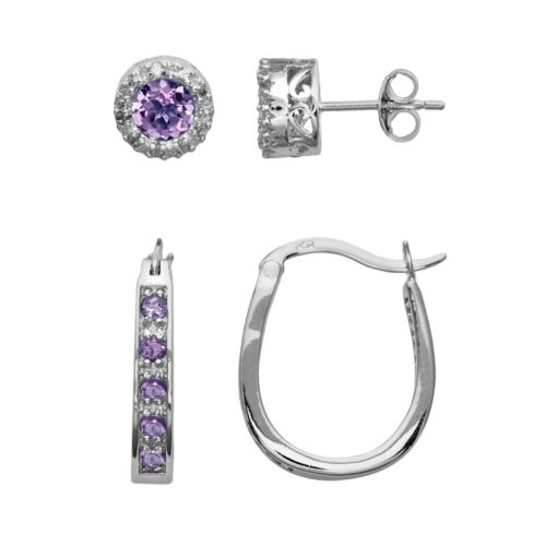 Sterling Silver Amethyst and Diamond Accent U-Hoop and Stud Earring Set