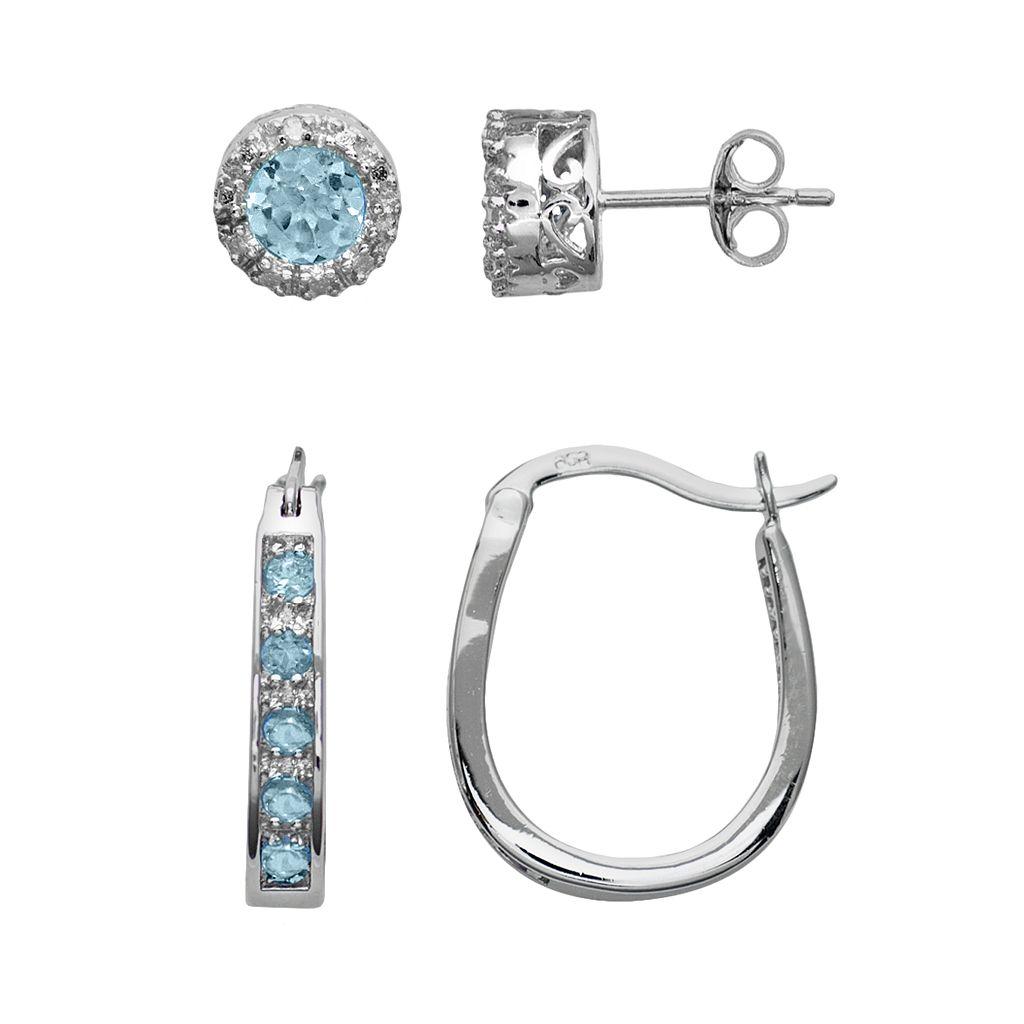 Sterling Silver Blue Topaz & Diamond Accent U-Hoop & Stud Earring Set