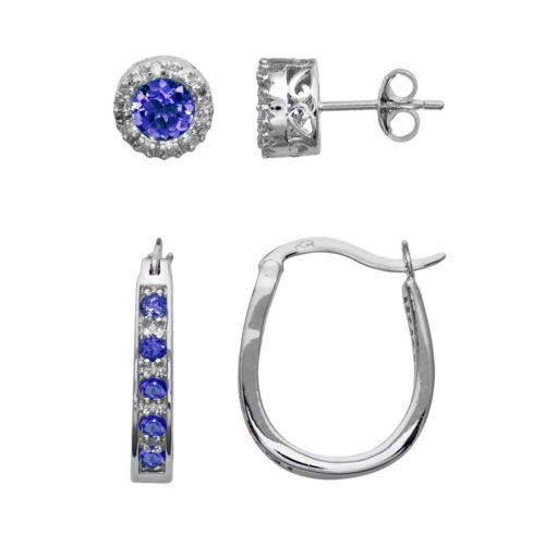 Sterling Silver Lab-Created Sapphire and Diamond Accent U-Hoop and Stud Earring Set