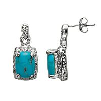 Sterling Silver .10-ct. T.W. Diamond & Turquoise & Diamond Accent Drop Earrings