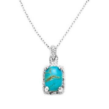 Sterling Silver .10-ct. T.W. Diamond & Turquoise Pendant