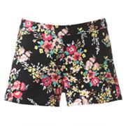 Candie's High-Waisted Floral Shortie Shorts - Juniors