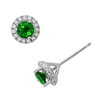 Sterling Silver Emerald & .15-ct. T.W. Diamond Frame Stud Earrings