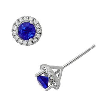 Sterling Silver Sapphire & .15-ct. T.W. Diamond Frame Stud Earrings