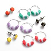 Mudd Silver Tone Simulated Crystal Beaded Hoop and Stud Earring Set