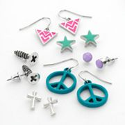 Mudd Silver Tone Peace Sign and Cross Stud and Drop Earring Set