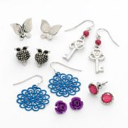 Mudd Silver Tone Key and Butterfly Stud and Drop Earring Set
