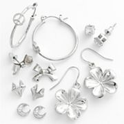 Mudd Silver Tone Simulated Crystal Stud, Drop and Hoop Earring Set