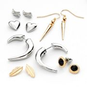 Mudd Two Tone Simulated Crystal Stud and Drop Earring Set