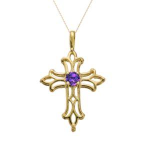 10k Gold Amethyst Filigree Cross Pendant