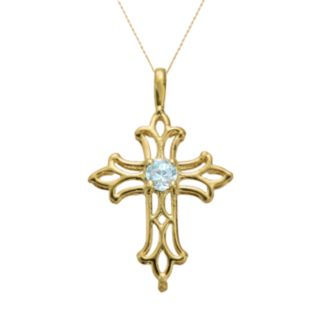 10k Gold Aquamarine Filigree Cross Pendant