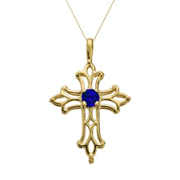 10k Gold Lab-Created Sapphire Filigree Cross Pendant