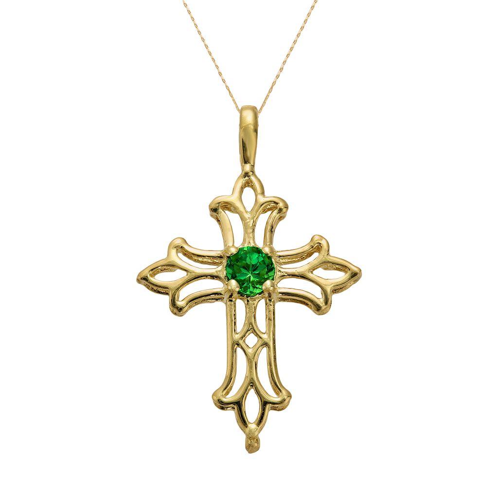10k Gold Lab-Created Emerald Filigree Cross Pendant