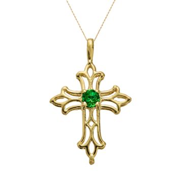 10k Gold Lab-Created Emerald Filigree Cross Pendant