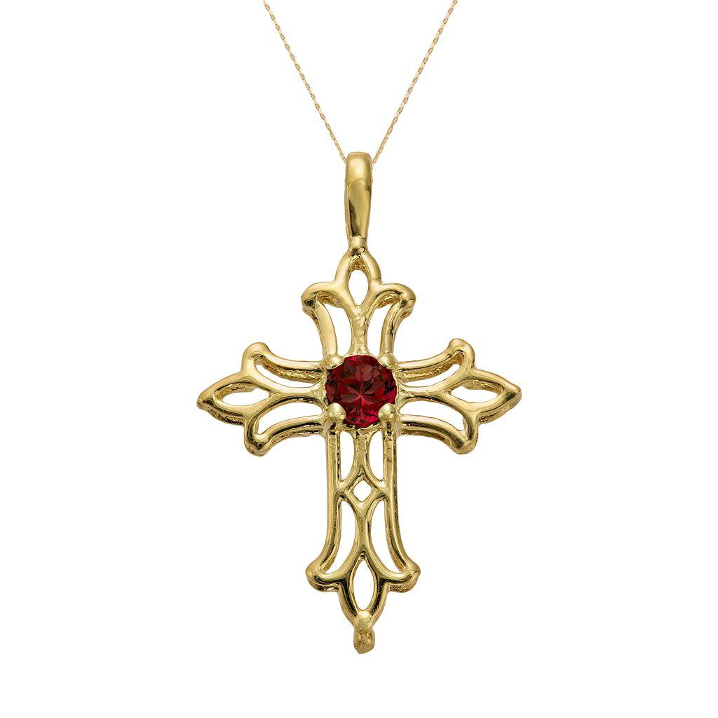 10k Gold Garnet Filigree Cross Pendant