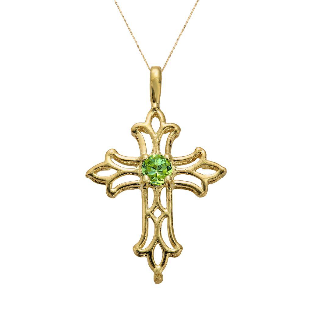 10k Gold Peridot Filigree Cross Pendant