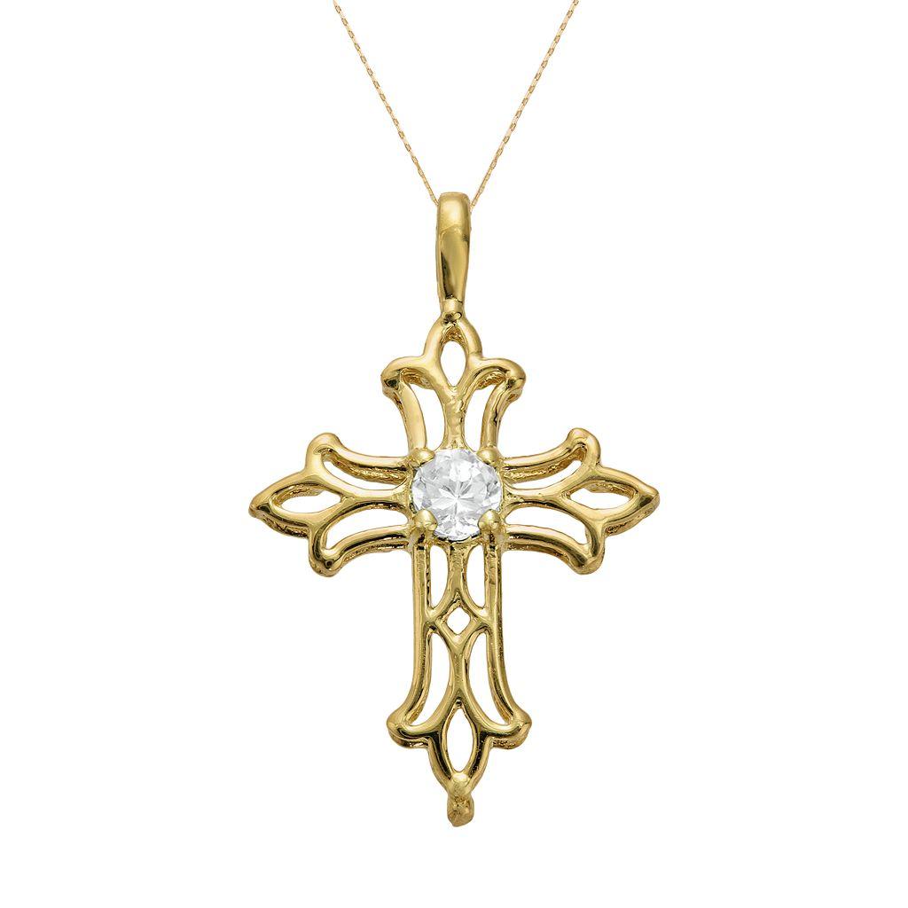 10k Gold White Topaz Filigree Cross Pendant