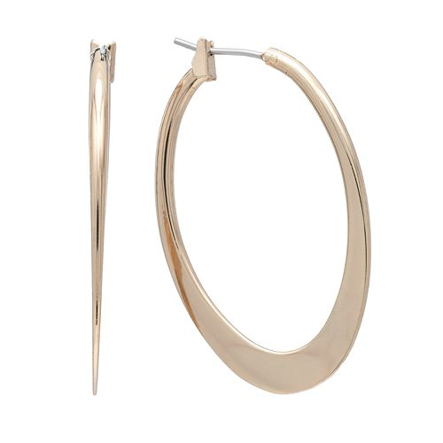 Napier Gold Tone Oval Hoop Earrings