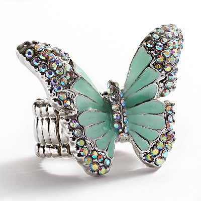 Candie's Silver Tone Simulated Crystal Butterfly Stretch Ring
