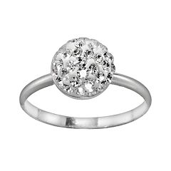 Sterling Silver Crystal Round Ring