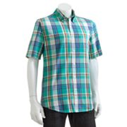 Chaps Slim Custom-Fit Plaid Sun-Drenched Poplin Casual Button-Down Shirt - Big and Tall