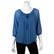 IZ Byer California Polka-Dot Peasant Top - Juniors