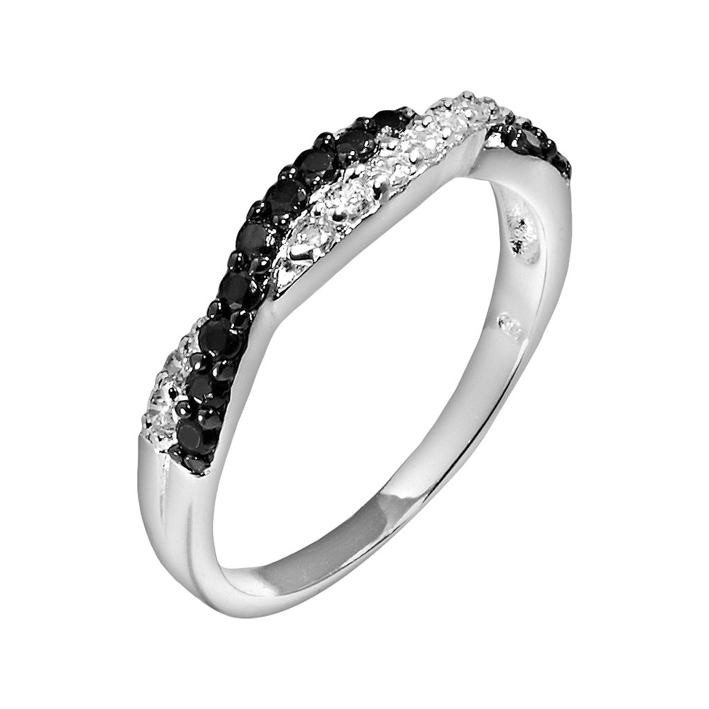 Silver-Plated Cubic Zirconia Crisscross Ring