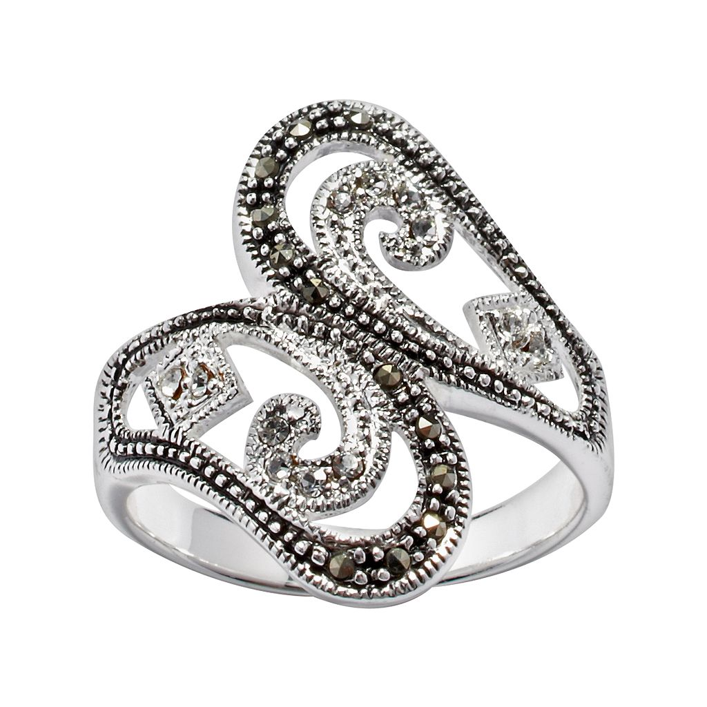 Silver Plated Cubic Zirconia Bypass Ring