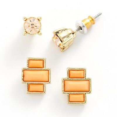 LC Lauren Conrad Gold Tone Simulated Crystal and Geometric Stud Earring Set