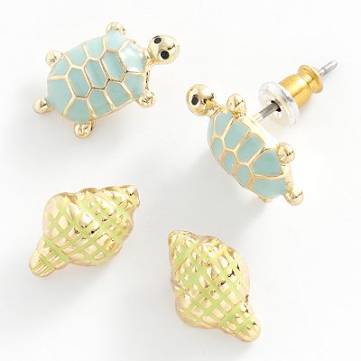 LC Lauren Conrad Gold Tone Turtle and Seashell Stud Earring Set