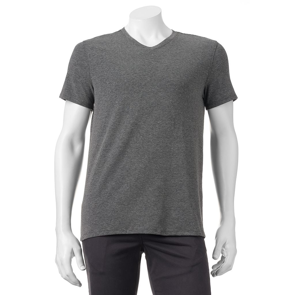 Men's Apt. 9® Premier Flex Modern-Fit Feeder-Striped Stretch V-Neck Lounge Tee