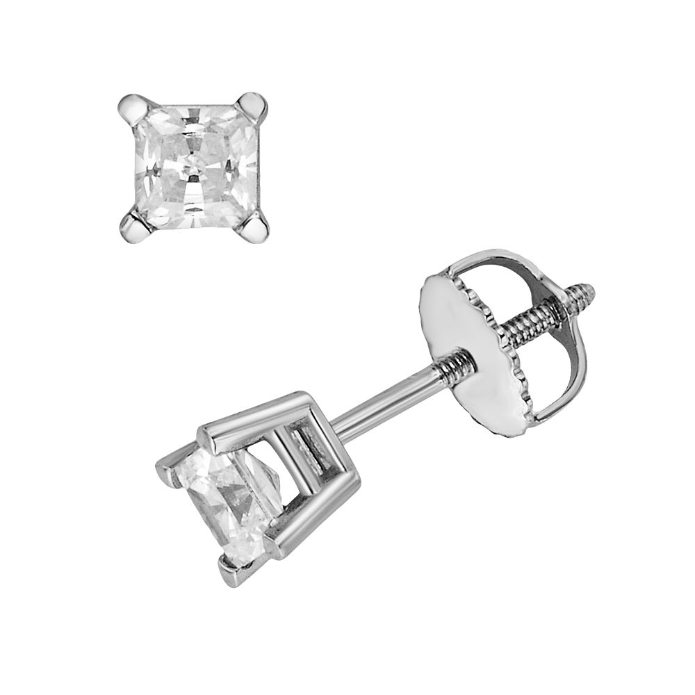 18k White Gold 1/2-ct. T.W. IGL Certified Colorless Princess-Cut Diamond Solitaire Earrings