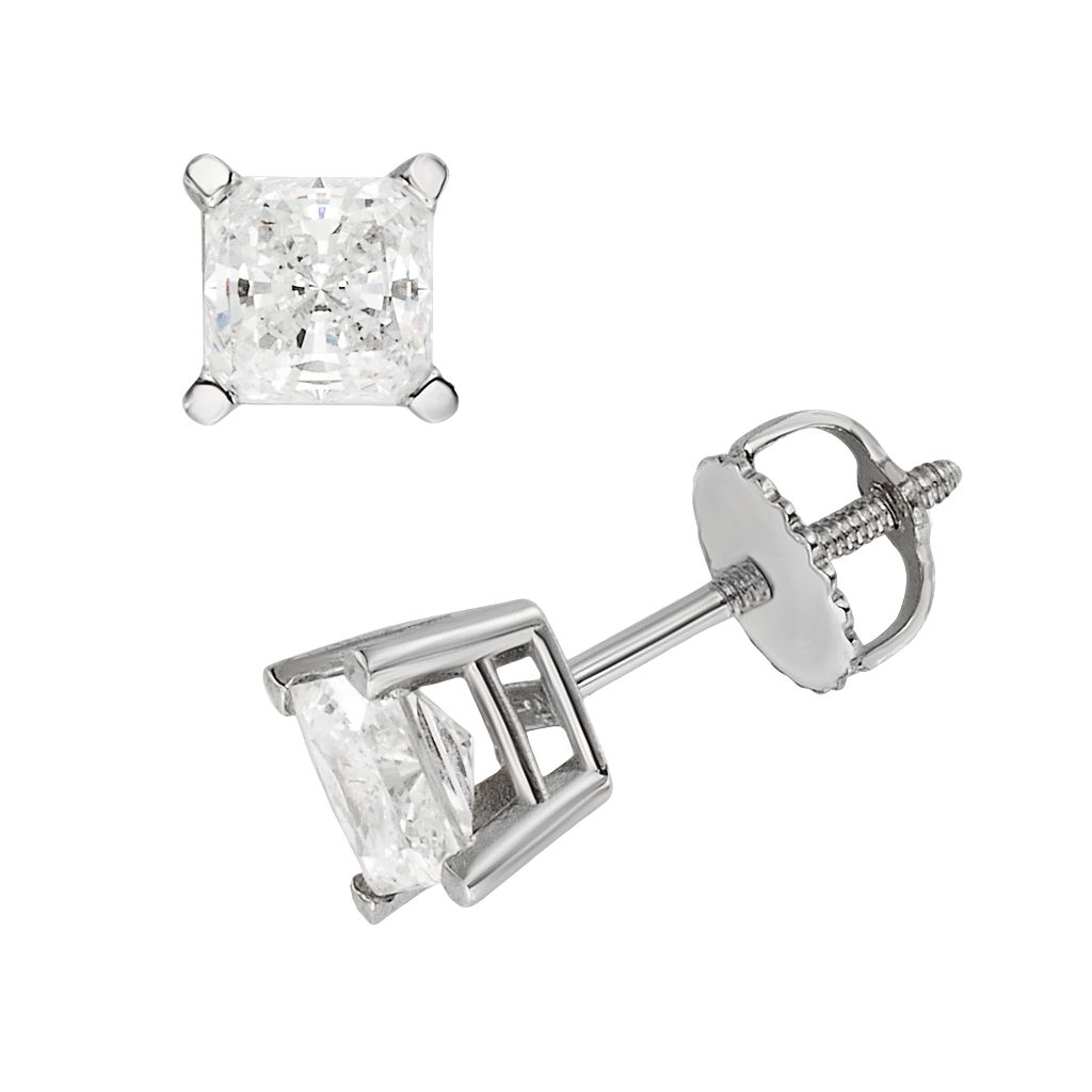 18k White Gold 1-ct. T.W. IGL Certified Colorless Princess-Cut Diamond Solitaire Earrings
