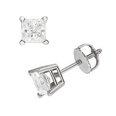 18k White Gold 1 ctT.W. IGL Certified Colorless Princess-Cut Diamond Solitaire Earrings