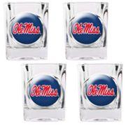 Ole Miss Rebels 4 pc Shot Glass Set