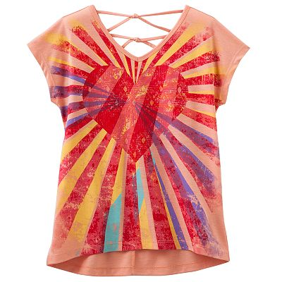 Mudd Heart Hi-Low Cross-Back Top - Girls 7-16