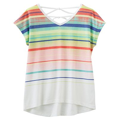 Mudd Striped Hi-Low Cross-Back Top - Girls 7-16