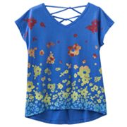Mudd Floral Hi-Low Cross-Back Top - Girls 7-16