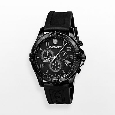 Wenger Squadron Chrono Stainless Steel Black Ion Silicone Chronograph Watch - 77054 - Men