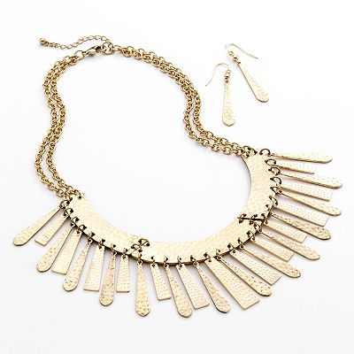 SONOMA life + style Hammered Multistrand Bib Necklace and Linear Drop Earring Set