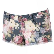 Mudd Floral Distressed Shortie Shorts - Juniors