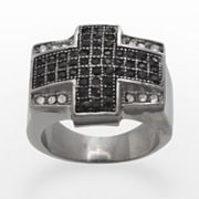 Stainless Steel Black and White Crystal Cross Ring - Men