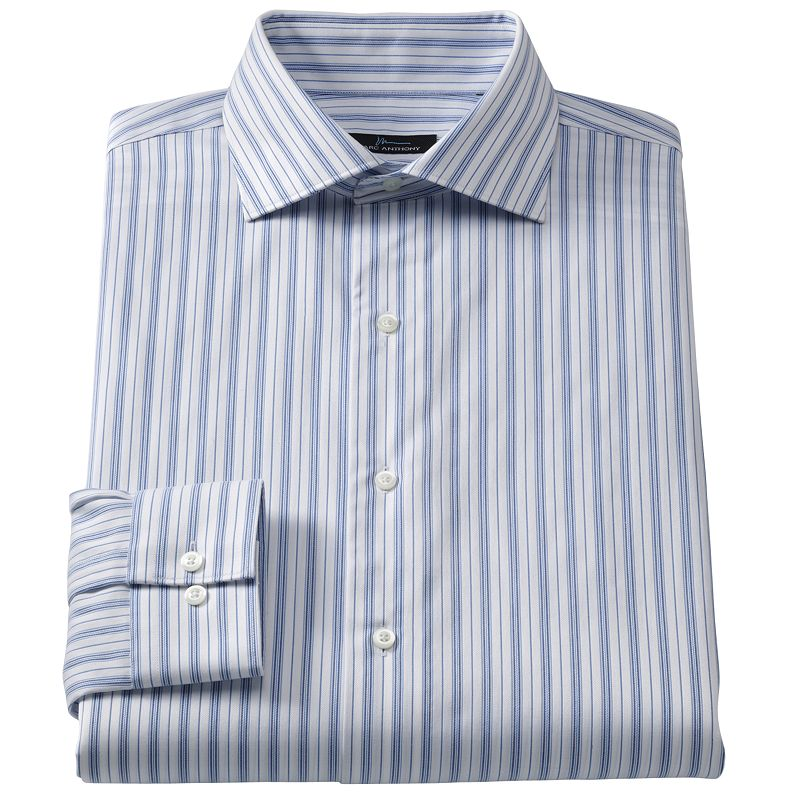 Marc anthony modern fit striped easy care spread collar for Tony collar dress shirt
