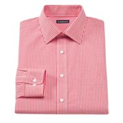 Croft and Barrow Fitted Gingham Easy-Care Spread-Collar Dress Shirt