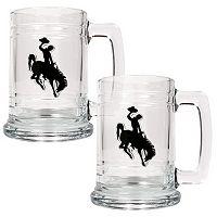 Wyoming Cowboys 2 pc Glass Tankard Set