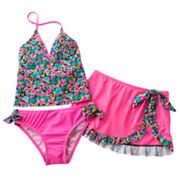Candie's Floral Pleated 3-pc. Tankini Swimsuit Set - Girls 7-16