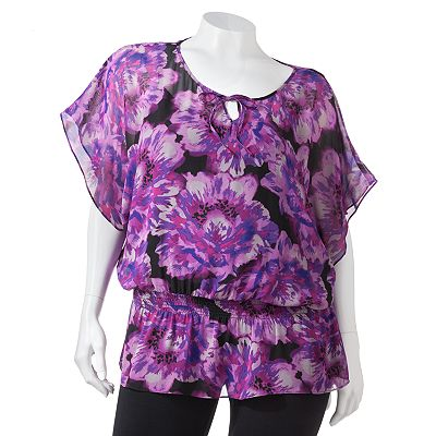 ELLE Floral Chiffon Blouse Set - Women's Plus