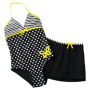 Malibu Dream Girl Striped and Polka-Dot 2-pc. Swimsuit Set - Girls 7-16