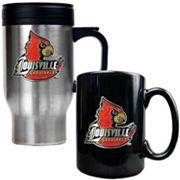 Louisville Cardinals 2 pc Stainless Steel Mug & Ceramic Mug Set